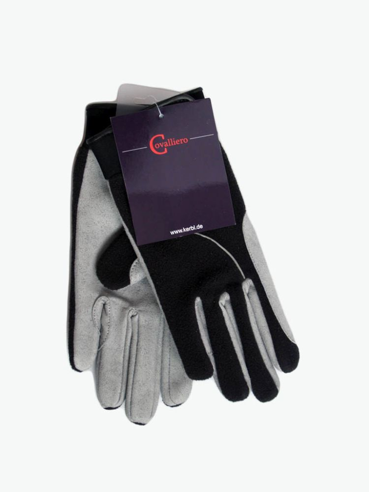 Black sliver leather gloves L